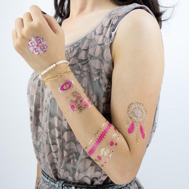 Us 134 1 Pc Hot Trendy Kolor Pióra Dreamcatcher Elephant Body Painting Arabski Indian Złota Flash Tatuaże Henną Metaliczne Glitter Yh013 W 1 Pc