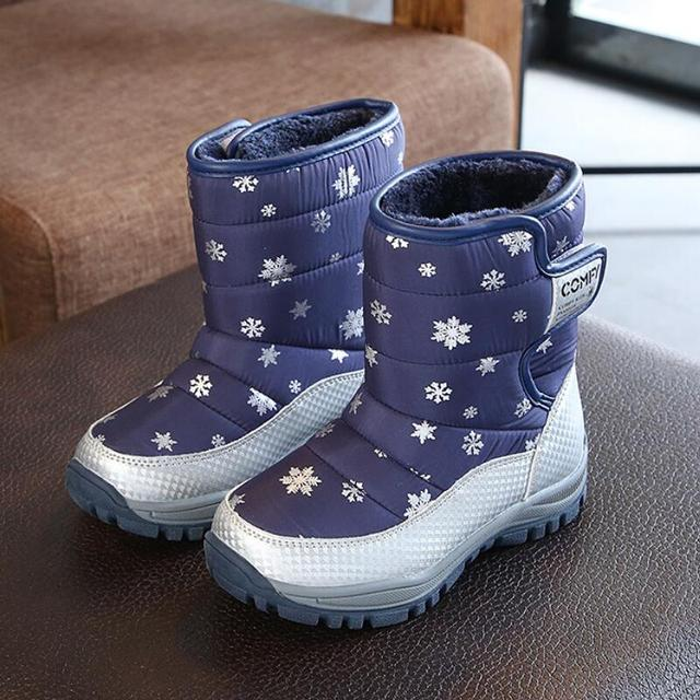 SKHEK 2018 New Kids Winter Boots Warm Wool Lining Comfortable Kids Shoes Fashionable Boys and Girls Boots for Eur size 27-32