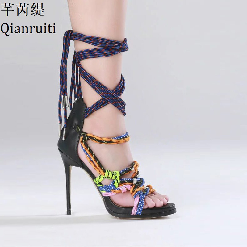 Qianruiti Summer Cut-Outs Lace-Up Women Gladiator Shoes Mixed Colors Ankle Strap Women Pumps Rome Style Open Toe High Heel Shoes fashion summer lace up women sandels cut outs open toe low wedges bohemian beach shoes white black ankle strap shoes for women