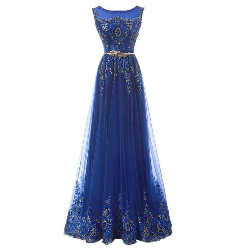Champagne Long Elegant Appliques Beading Party Prom Dresses 6