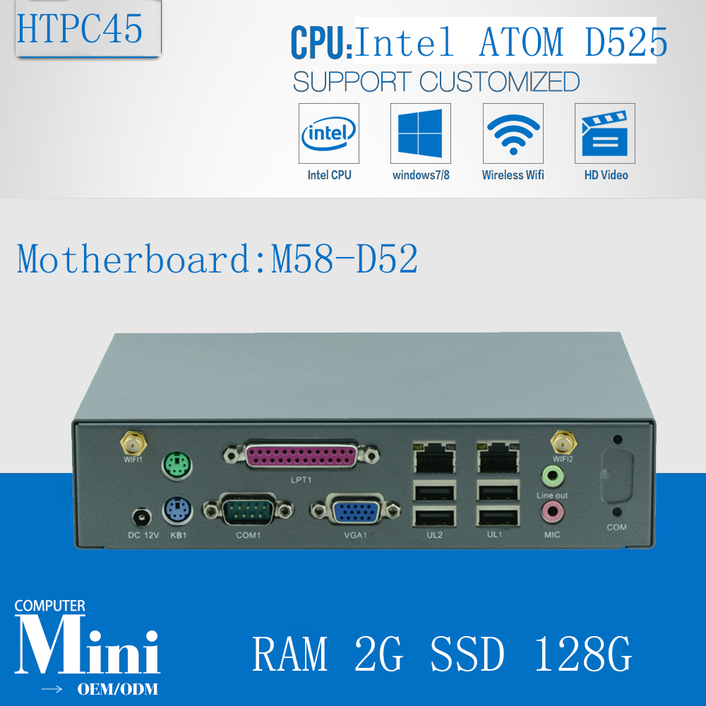 Mini PC Win 8 VGA Minipc Mini Pc Linux ATOM D525 Support VGA 2G RAM 128G SSD 2 LAN   2* WIFI/3G SMA Antenna