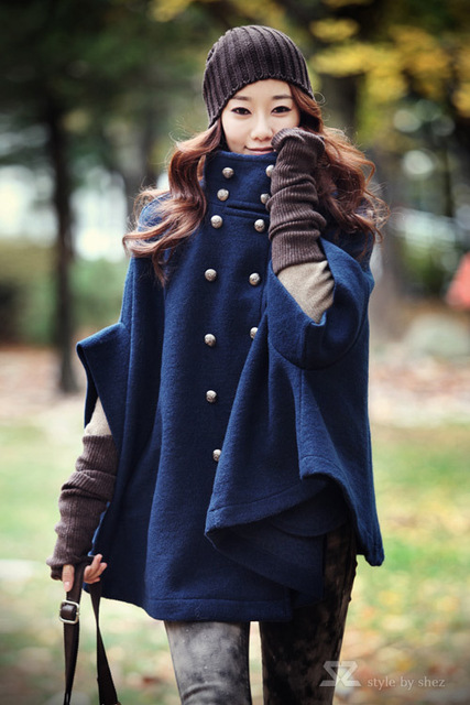 Wholesale - new Style Women Poncho Navy blue double-breasted coat cape bat sleeve Outerwear