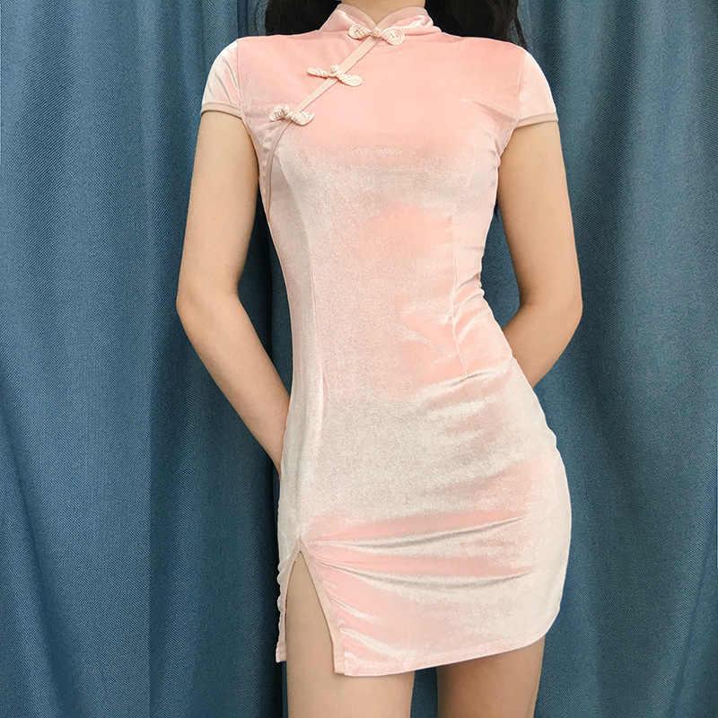 YYXZ модное тонкое сексуальное однотонное платье в китайском стиле с коротким рукавом, обтягивающее Черное женское повседневное бархатное платье-футляр, женское мини-платье