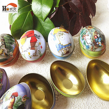 CUSHAWFAMILY large Peter rabbit Easter egg iron receive box candy storage box wedding favor tin box cable organizer container(China)