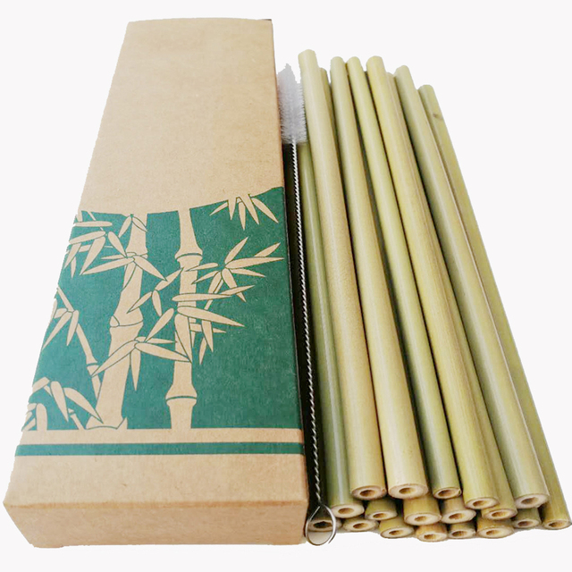 Reusable Eco-Friendly Drinking Bamboo Straws 10 Sets