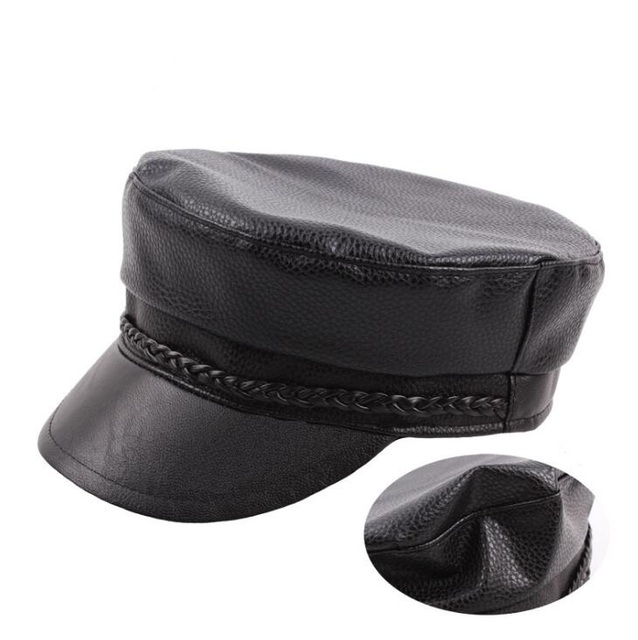 Xongkoro Cow Leather Military Cap Flat Top Army Hat Boys Girls Old Fashion  Navy Hats Black Color For Men Women 6141eb4c19c