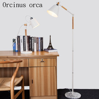 The study of solid wood floor lamp creative simple living room bedroom wooden floor lamp Nordic fashion personality