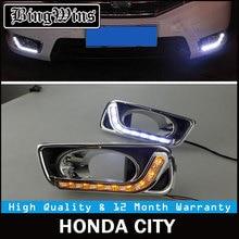 BINGWINS автомобиля DRL комплект для Honda CITY 2012 2013 светодио дный днем ходовые огни бар сигнал поворота туман авто лампы автомобильной daylight 12 v