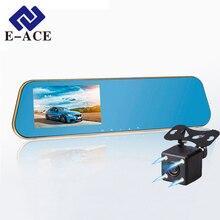 E-ACE Full HD Dvr Carro Gravador De Vídeo Digital Auto Rear-view Câmera de Lente Dupla Espelho Retrovisor Veículo Secretário Traço Camcorder