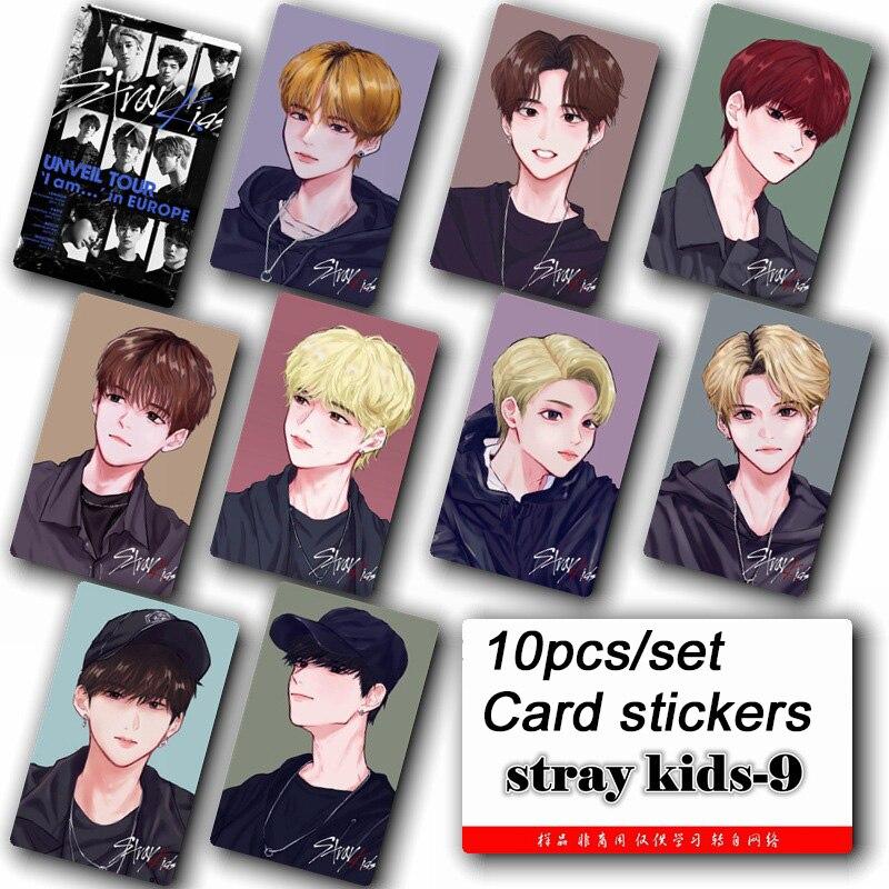 10pcs/set Stray Kids KPOP Photo Cards Stickers Album Sticky Adshesive Kpop Stray Kids Lomo Card Photocard Sticker SKD00609