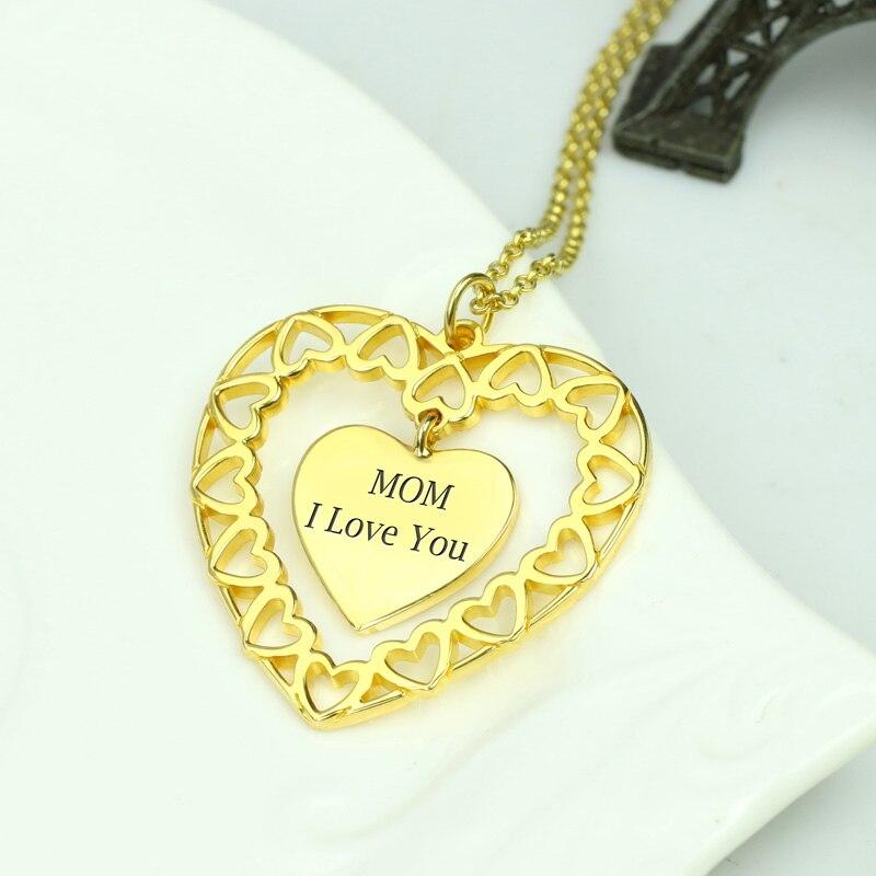 Collier cercle d'amour gravé personnalisé AILIN Love My Family collier coeur en couleur or - 2