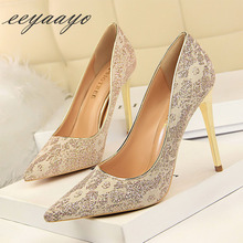 купить New Spring/Autumn Women Pumps High Thin Heel Pointed Toe Crystal Bridal Wedding Women Shoes Black Sexy Ladies High Heels Shoes по цене 778.75 рублей