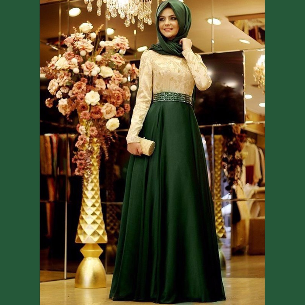 Muslim Evening Dresses With font b Hijab b font Full Sleeves Long Color Evening Gowns Vestido