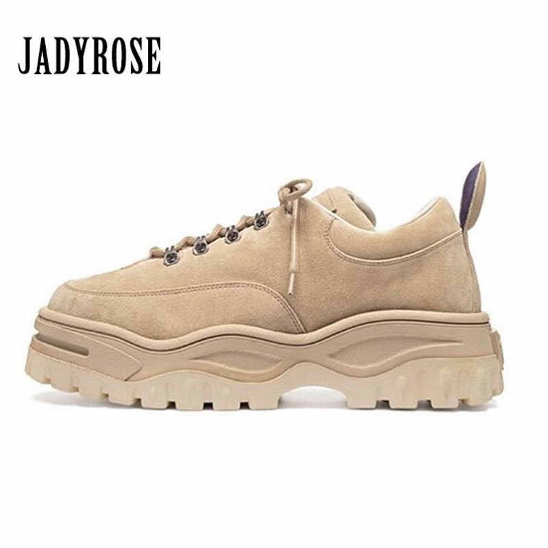 Jady Rose 2018 New Hot Femmes Sneakers Lace Up Plate-Forme Chaussures Femme Femme Creepers Casual Plat Chaussures Tenis Feminino Espadrilles
