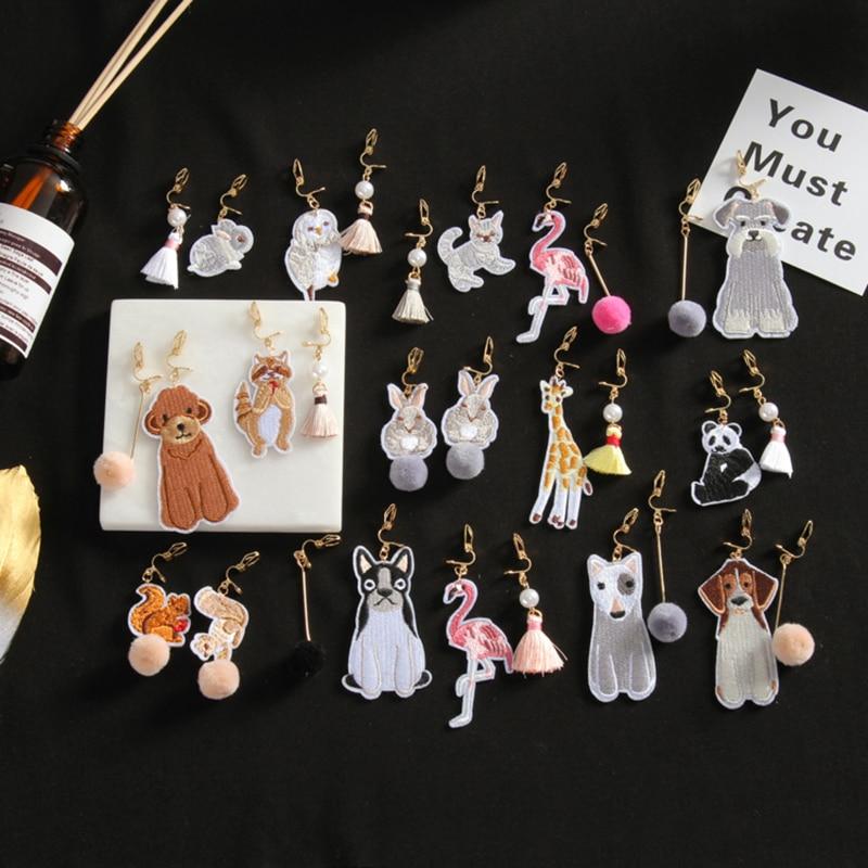 Grace Jun 2018 New Style Cloth Tassel Plush Ball Dog Cat Flamingo Rabbit Owl Animal Shape Clip on Earring Non Piercing for Women цена