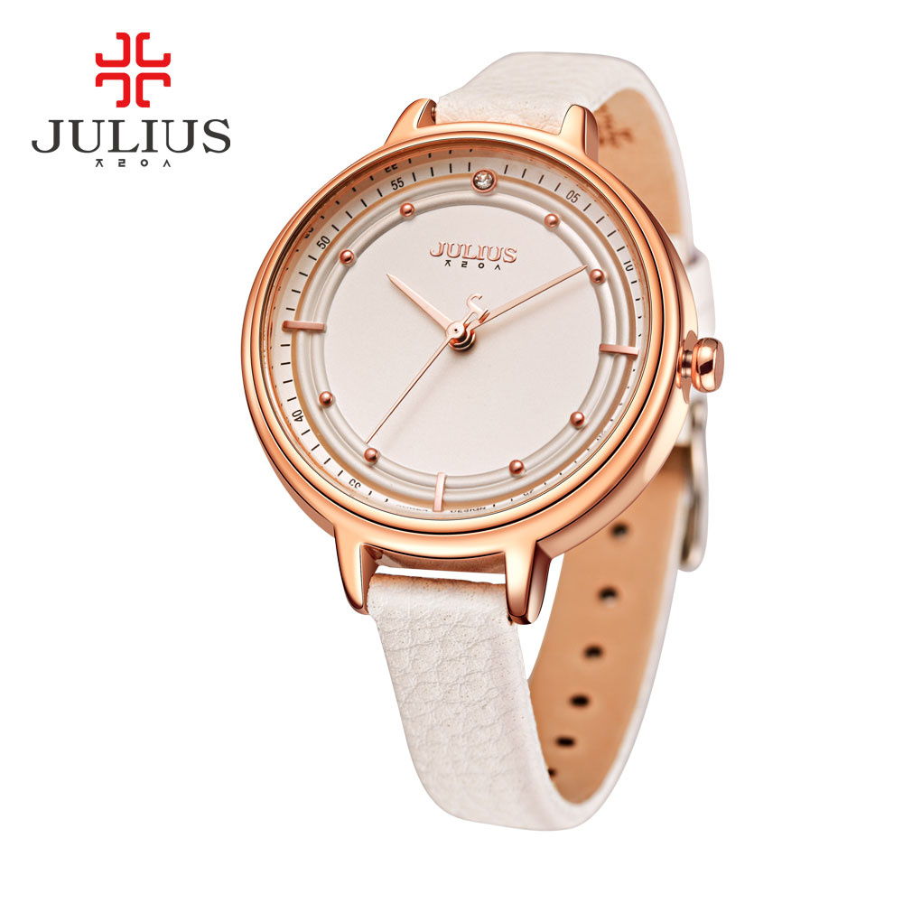 New Julius Lady Women's Wrist Watch Fine Big Fashion Hours Dress Bracelet Rhinestone Leather School Girl Birthday Gift