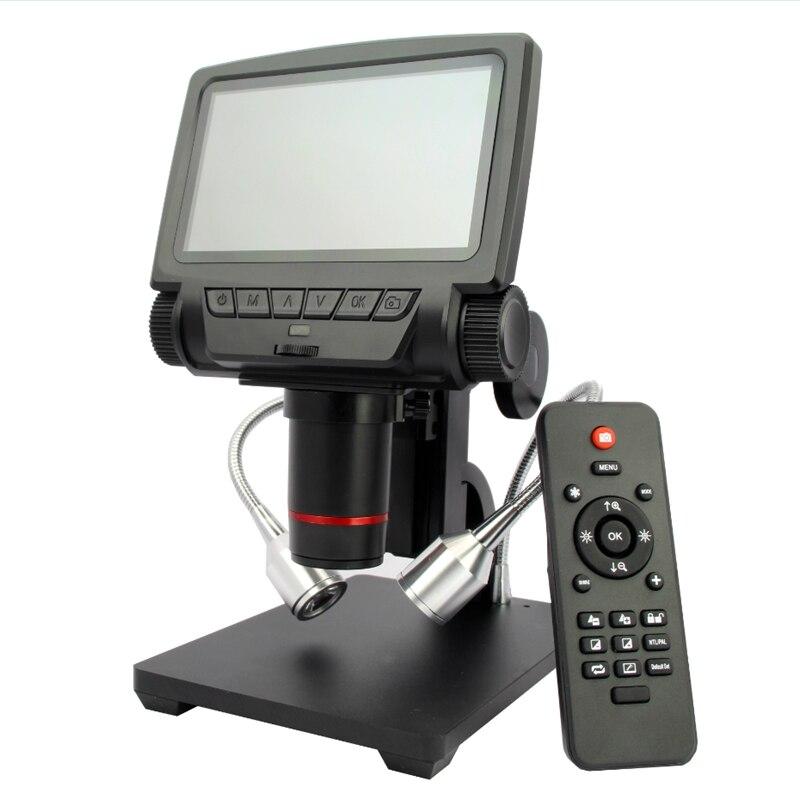 Microscope USB numérique de Distance d'objet d'affichage à cristaux liquides de 5 pouces de Microscope de HDMI/AV pour des outils de loupe de soudure de réparation de carte PCB de téléphone portable