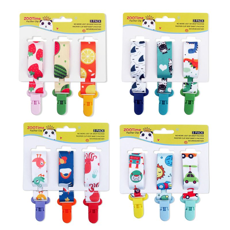 Dummy Clips Baby Pacifier Clips 3 Pack Pacifier Holder Straps For Girls Plastic Teething Clips Modern Unisex Design JAN-30
