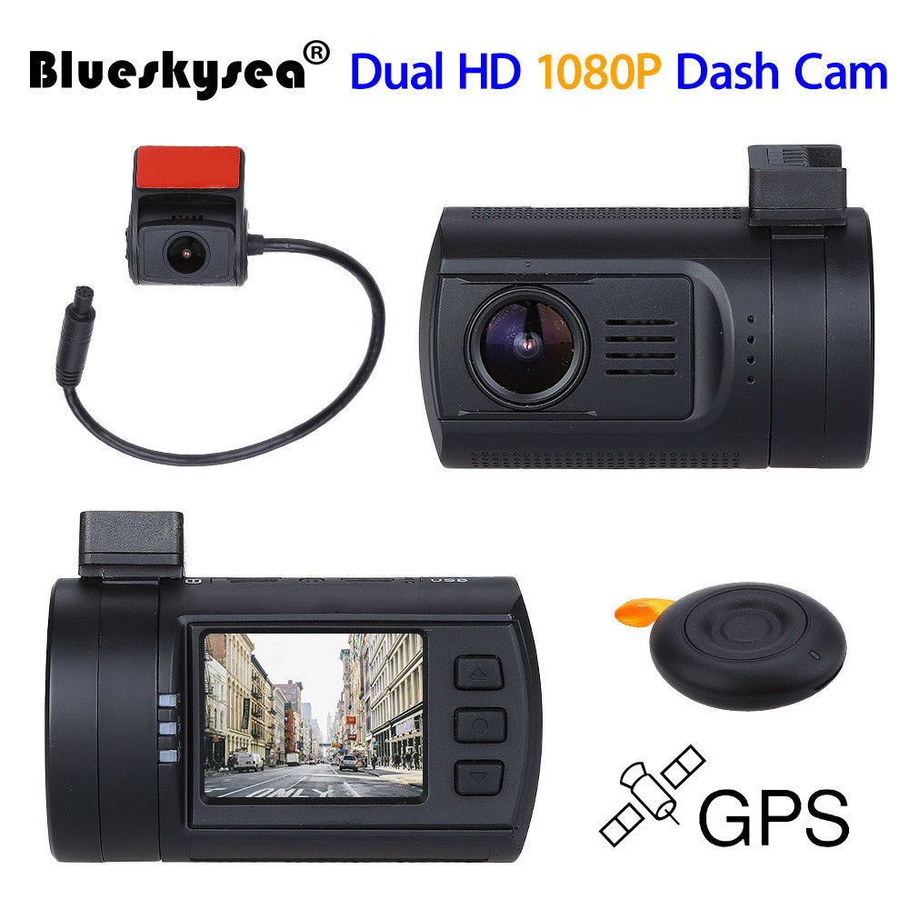 Blueskysea 0906 Mini 1080 p dual de la lente del coche Dash cam Super condensador grabadora de coche DVR GPS CPL Hardwire opción bueno Como mini 0806