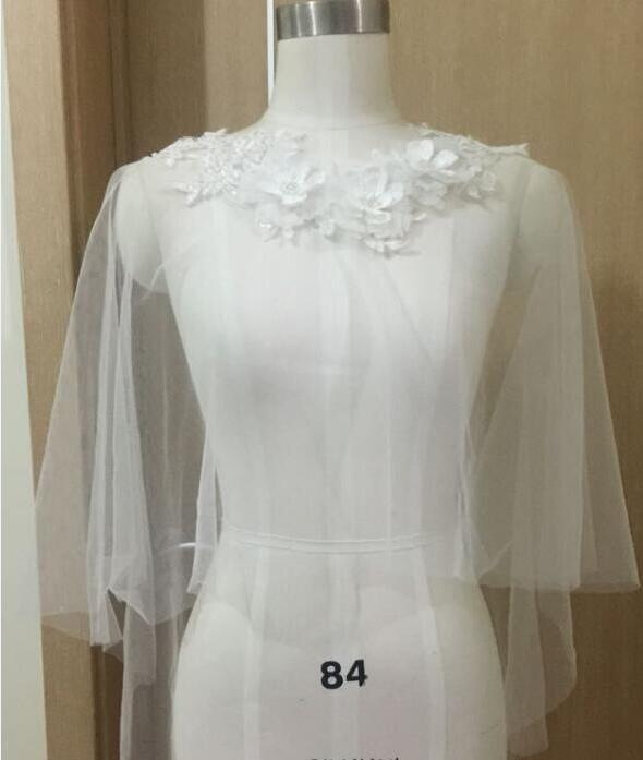 Bridal coat White Ivory Tulle Beaded Lace Side Bride Wedding Party Wraps Shrug Shawl Ball Bridesmaid Cloak women jacket