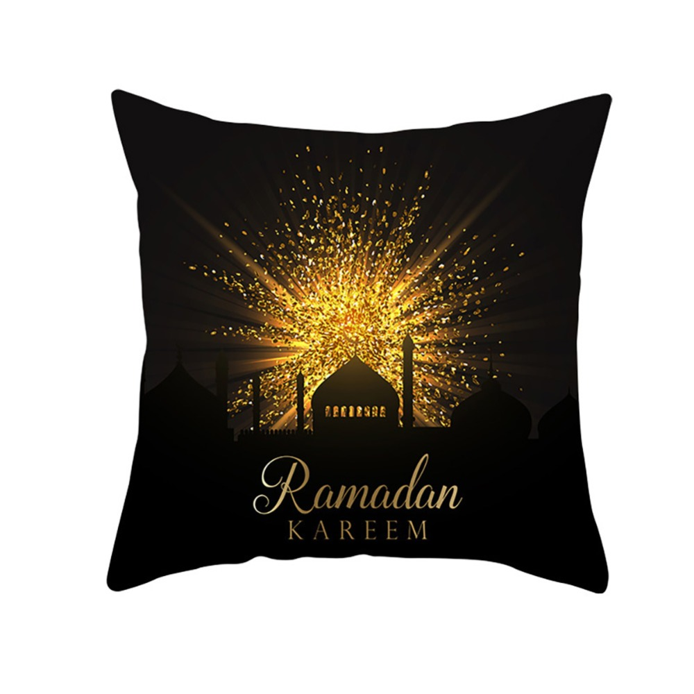 Islam Muslim Masjid Mosque Cushion Covers Decorative Cotton Linen Pillow Case Eid Ramadan Kareem Moon Art Cushion Cover