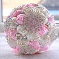 Nueva Llegada Gorgeous Flores Ramos de Novia Ramo De La Boda Artificial de Cristal Con Perlas 2017 buque de noiva