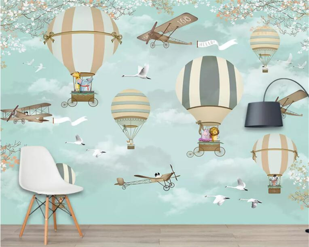 Beibehang Customized Cartoon Photo Wallpaper Children's Room Wall 3d Wallpaper Cartoon Hot Air Balloon Airplane 3d Wallpaper