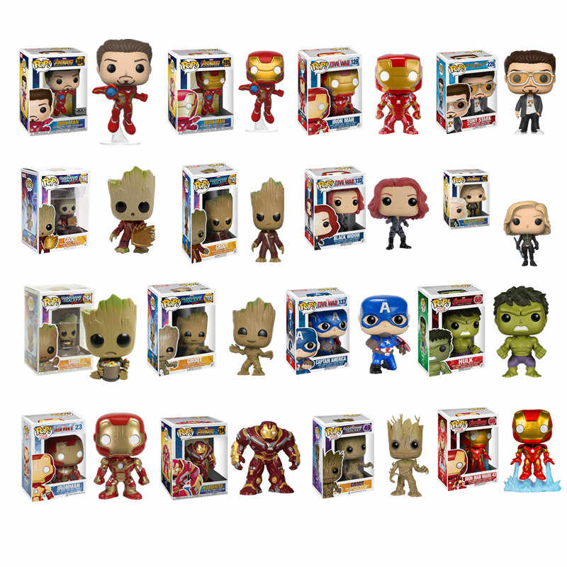 FUNKO POP Marvel Avengers #23 #126 #66 Iron Man Black Widow #137 Captain America Action Figure Toys Cute Groot  Hulk Model Dolls