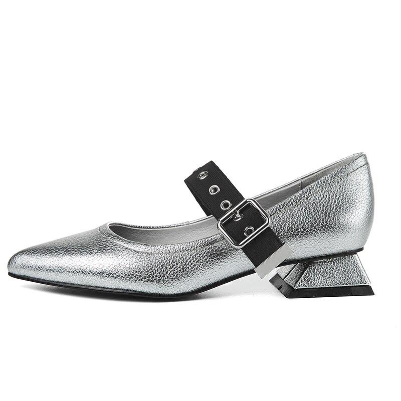 Moda Zapatos De Primavera Isnom Inusual Casual plata Puntiagudo Tacón Pie Dedo Jane Mujer Mujeres Del Gris Calzado Las 2019 Bombas Nuevo Mary TOPFqxtwO