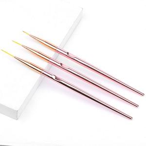 Image 5 - 3pcs/set Rose Gold Nail Art Line Painting Brushes Metal Handle Thin Liner Drawing Pen DIY UV Gel Tips Design Manicure Tool Kits
