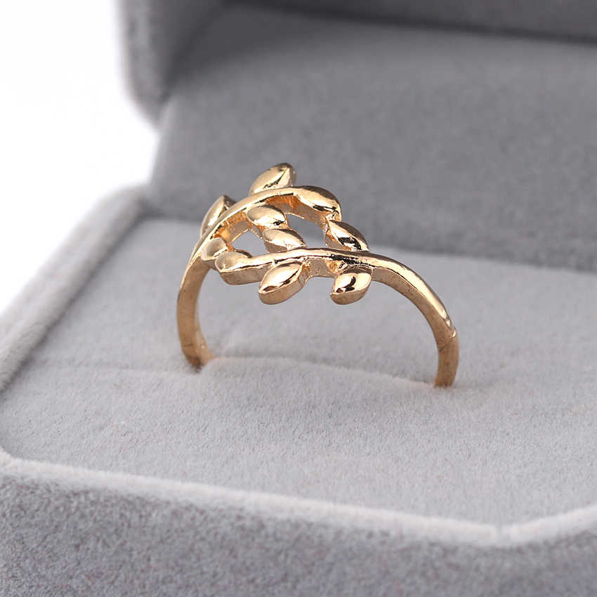 1PC Two colors Tree Branch Leaves Ring for Women Girl Wedding Rings Jewelry Birthday Gifts for Friends Fashion Accessories