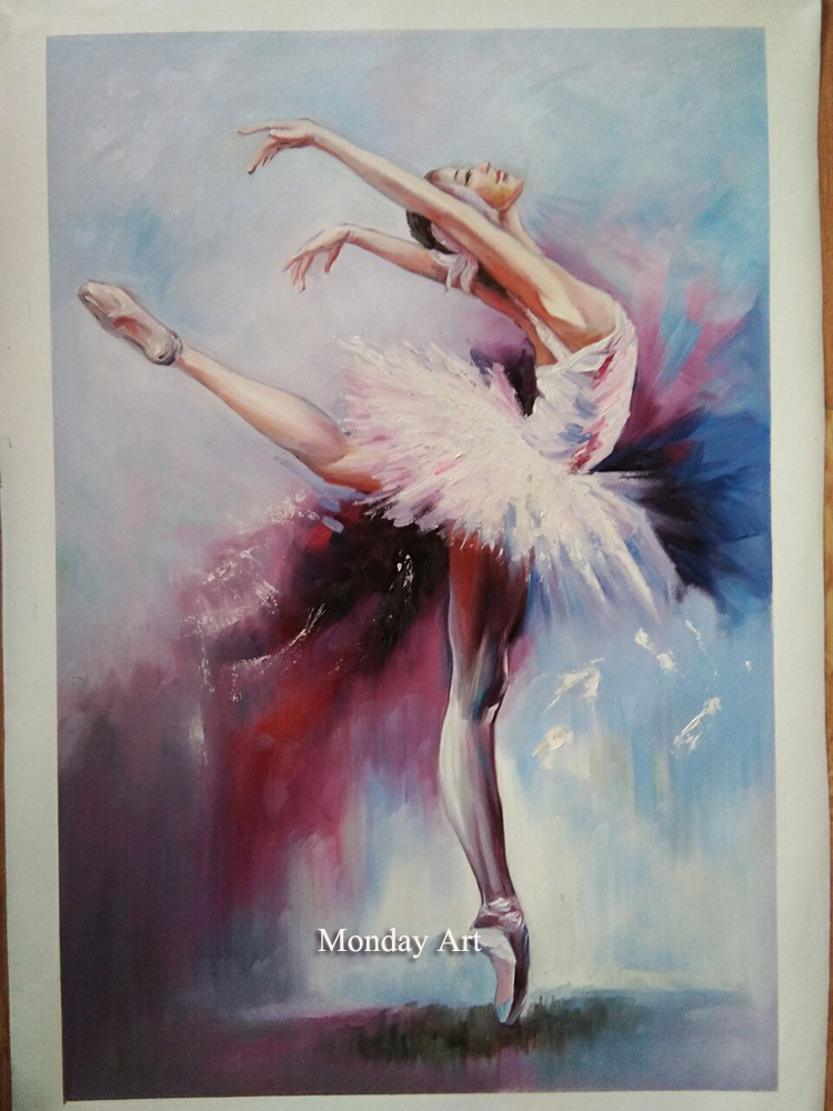 hand painted modern abstarct oil painting ballet dancer girls canvas wall art figure wall picture for living room decorations in Painting Calligraphy from Home Garden