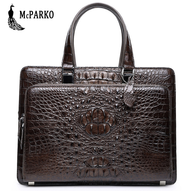 Genuine Leather Men's Bag Briefcase Crocodile Skin Luxury Alligator Bags Black Brown Briefcases LARGE CAPACITY