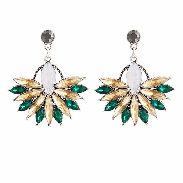 E0226 Hot Sale Pink Flower Crystal Earrings For Women Luxury Drop Earrings State