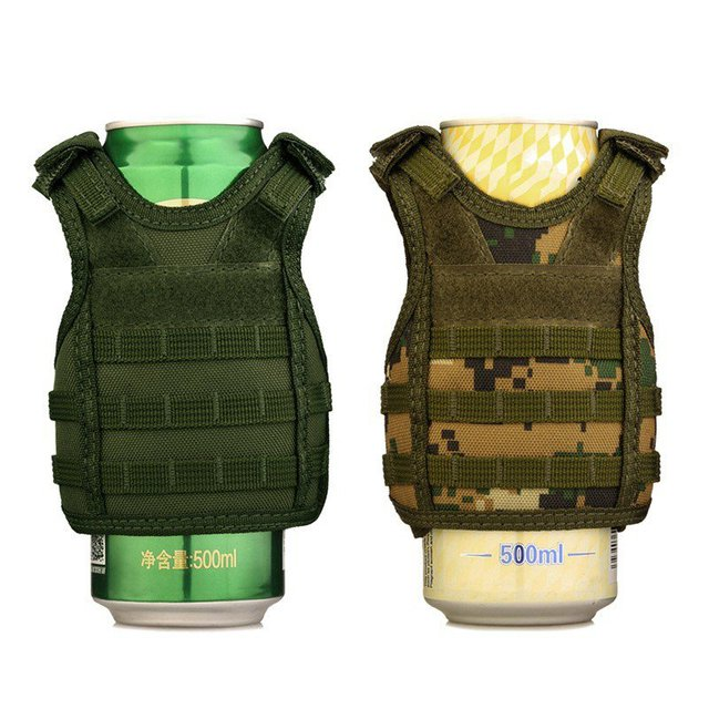 new  Tactical Beer Bottle Cover Military Mini Miniature Molle Vest Personal Bottle Drink Set Adjustable Shoulder Strap