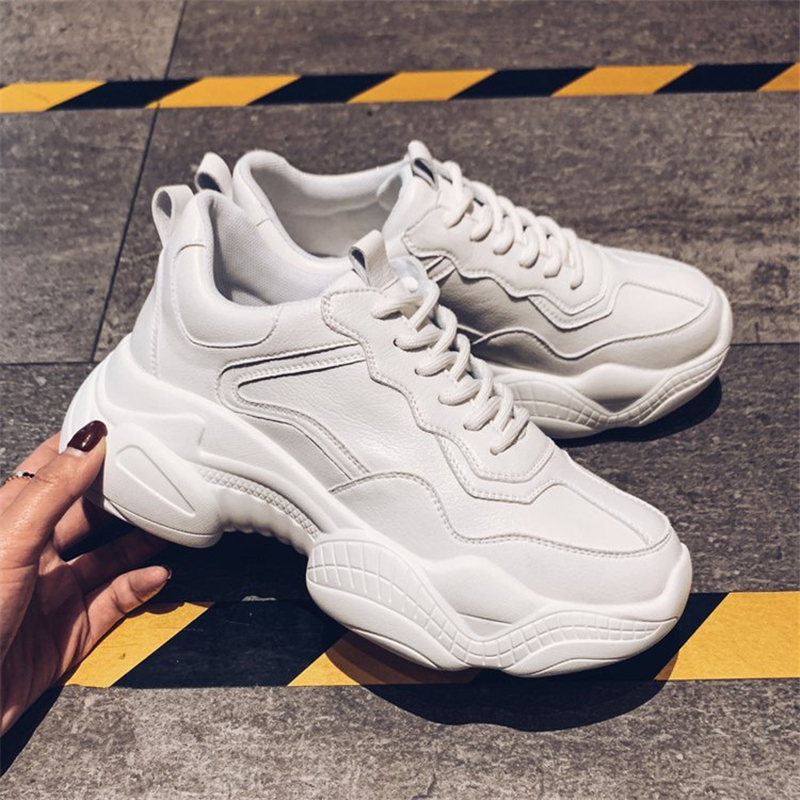 Tleni 2019 Sneakers Women  Spring New Running Shoes Female Platform White Sports Shoes Big Size 35-40 ZW-01