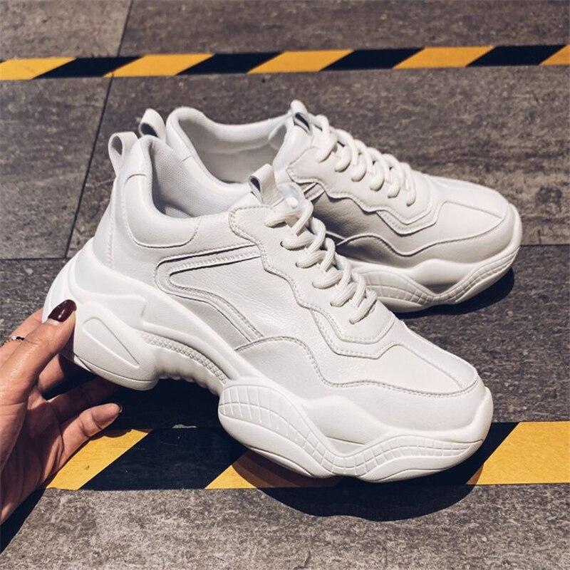 Tleni 2019 Sneakers Mulheres Plataforma Nova Primavera Tênis Feminino Calçados Esportivos Brancos Tamanho Grande 35 40 Zw 01
