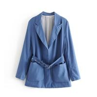 Women Chic Blue Linen Long Sleeve Za Blazer 2019 Female Spring Autumn Casual Solid Adjustable Waist With Belt Blazer chaqueta