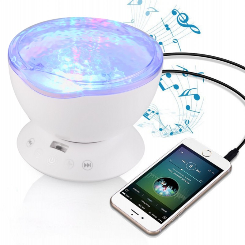 FENGLAIYI Wave Aurora Starlight USB LED Night Light Star Projector Built-in Mini Music Player Speaker Novelty Baby Night Lamp 7colors led night light starry sky remote control ocean wave projector with mini music novelty baby lamp led night lamp for kids
