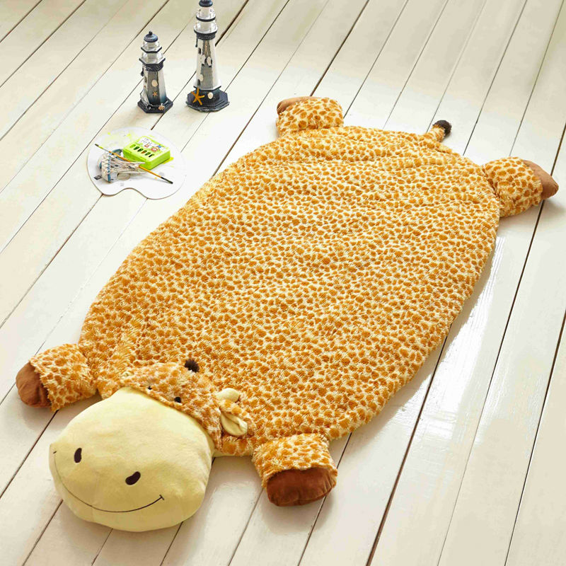 Cute giraffe yellow children/kids/toddler nap summer blankets mat carpet linens high quality soft plush fabric 160x82cm toys