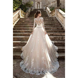 Image 3 - Vintage Scoop Wedding Dresses Long Illusion Sleeves Lace Applique Beading Waist Sweep Train Bridal Gown Dress with Back Buttons