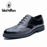 Blai Хилтон 100% из натуральной кожи броги Бизнес торжественное платье Мужская обувь классические офисные Свадебные мужские туфли Повседневно