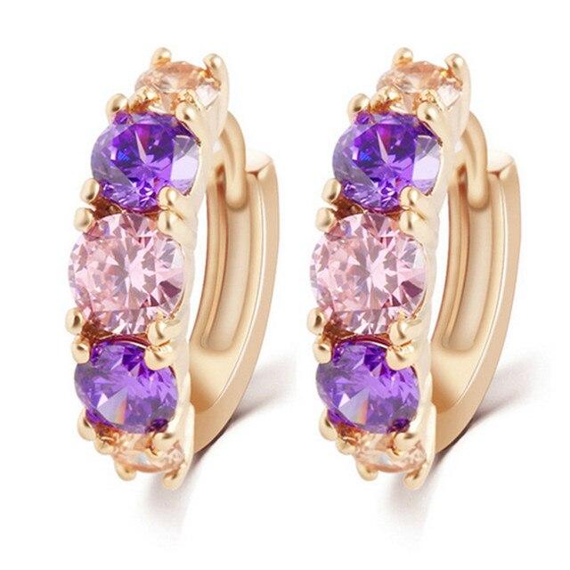 Cristal de Colores con estilo CZ Del Pendiente Del Aro Chapados En Oro de Moda Muchacha de Las Mujeres Pendientes de Regalo