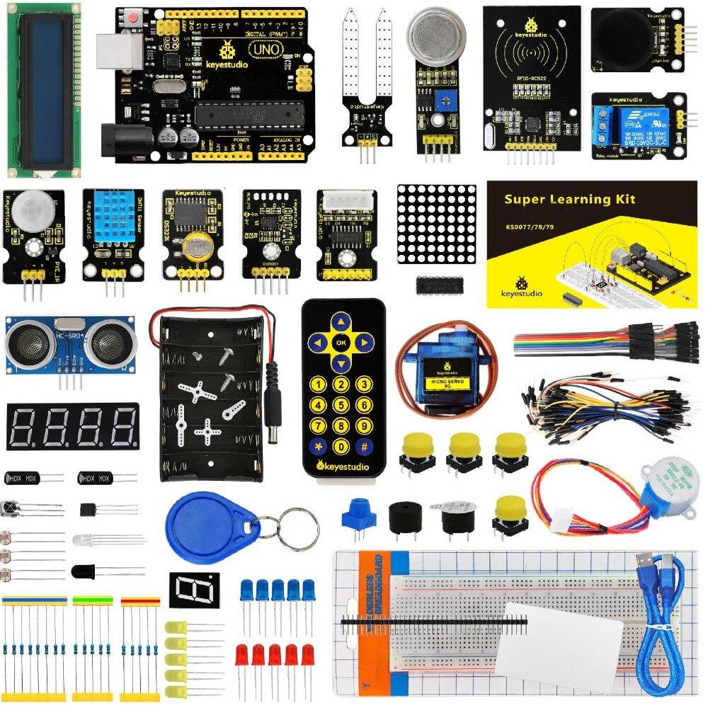 Keyestudio Super Starter kit/Kit de aprendizaje (UNO R3) para Arduino educación W/caja de regalo + 32 proyectos + Manual del usuario + PDF (en línea)