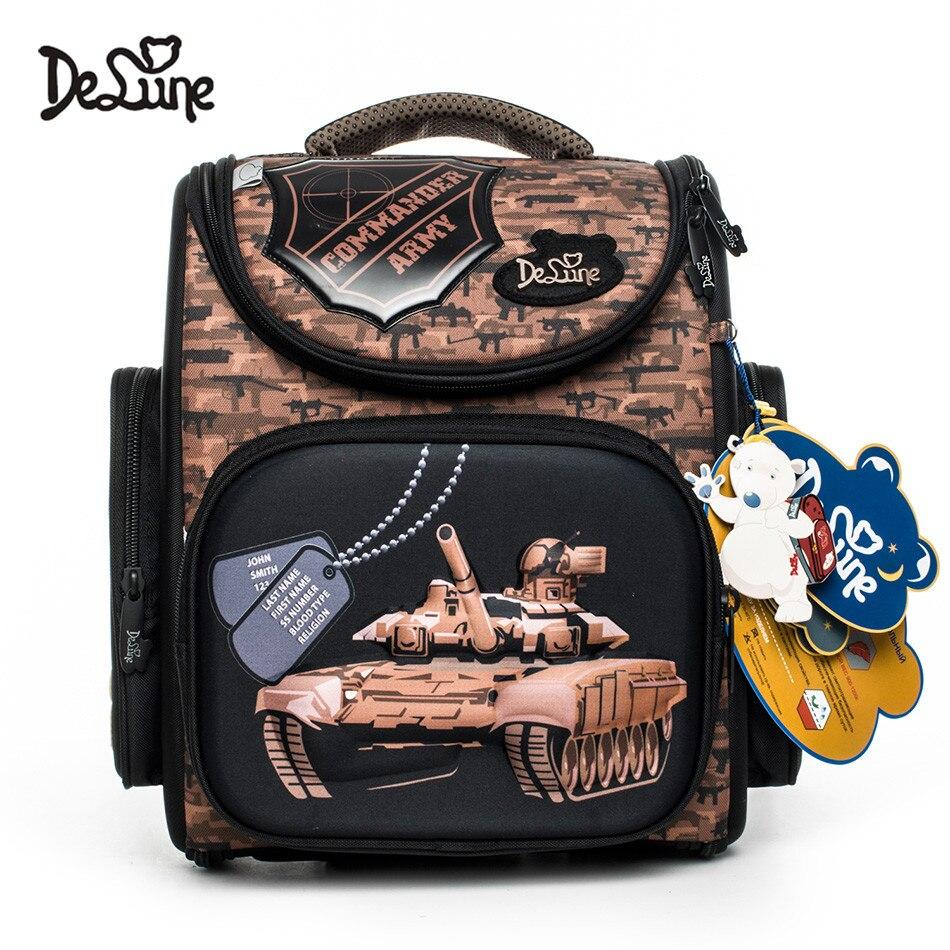 2018 Delune Backpack New Erogonomic Design Kids School Bags 3D Cartoon Orthopedic Boys Tank Schoolbag Backpacks Mochila Infantil