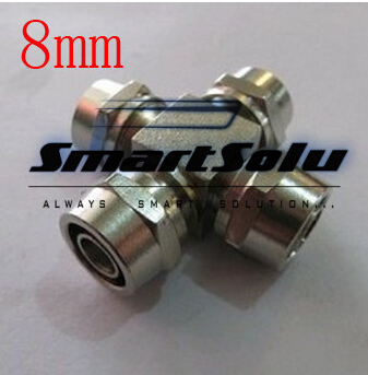 купить free shipping 2pcs/lots for 8mm hose brass quick connectors Union cross four-way connection four way union недорого