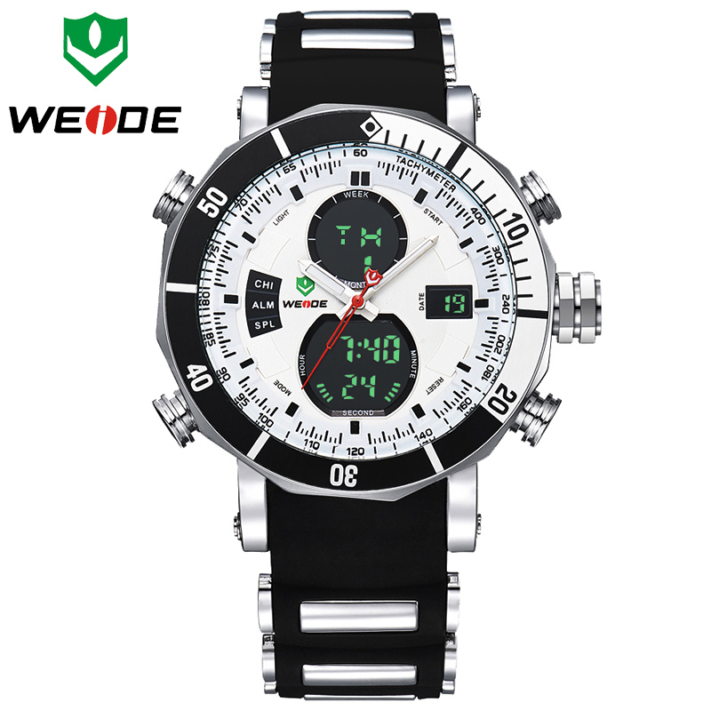 WEIDE Brand Fashion Watch Men Waterproof LED Sports Military Watches Men's Analog Quartz Digital Wrist Watch relogio masculino top brand weide fashion men sports watches men s quartz analog led clock male military wrist watch relogio masculino