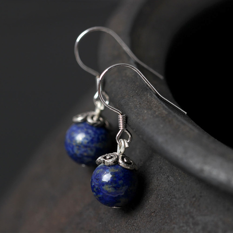 Flyleaf 925 Sterling Silver Lapis Lazuli Bead Drop Earrings For Women Fashion Lady Gift Prevent Allergy Sterling-silver-jewelry