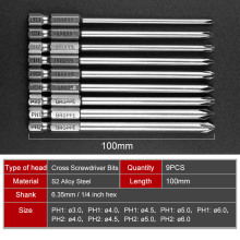 9pcs X Magnetic Philips Screwdriver Set 1/4 Inch 6.35mm Shank S2 Alloy Steel 100mm Long Hex Bit
