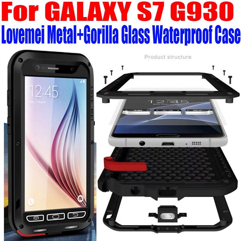 For SAMSUNG GALAXY S7 G930 Original Lovemei Aluminum Metal Gorilla Glass Shock Drop Waterproof Case For